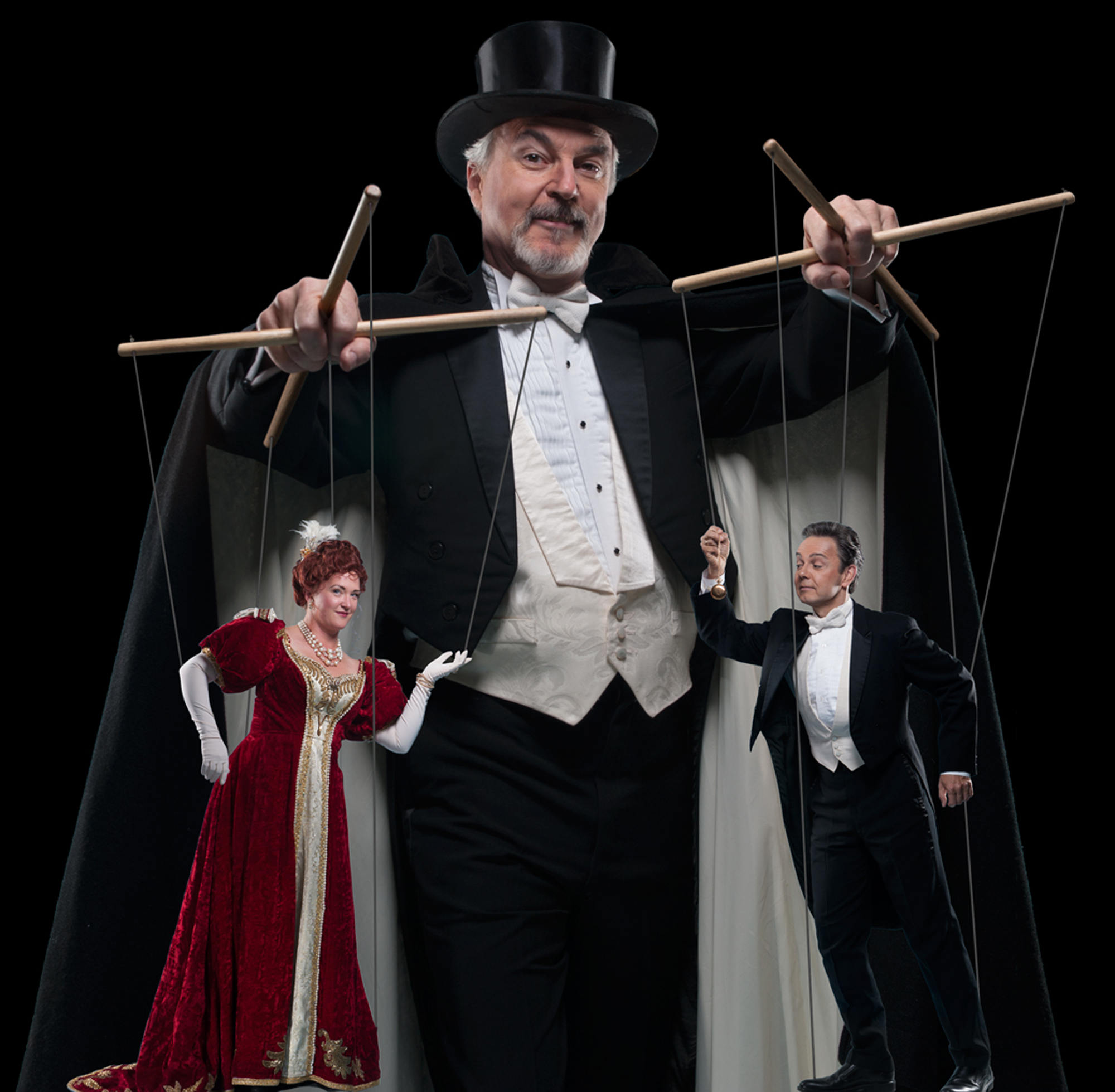 "DR. FALKE (William Neely) holds all the strings in ""Die Fledermaus,"" showing next at the Napa Valley Performing Arts Center in Yountville on Sunday. Left, Jennifer Ashworth as Rosalinde; right, Martin Lewis as Gabriel Eisenstein. Photos by David Allen and Joanne Kay"