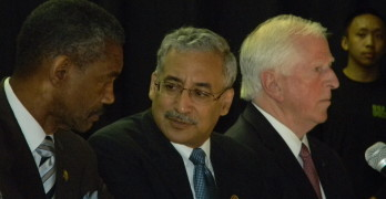 FROM LEFT, Vallejo Mayor Osby Davis, U.S. Rep. Bobby Scott, D-Va., and U.S. Rep. Mike Thompson, D-Napa. Donna Beth Weilenman/Staff