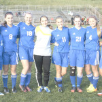 SENIORS ON the Benicia High girls varsity soccer team were honored before Tuesday's game against Fairfield. The senior Lady Panthers are (from left) Baylee Rowley, Elin Wohlfart, Jenna Rogenski, Virginia Henderson, Emily Wolfe, Kim Fiori, Michelle Minahen and Dominique Calloway.