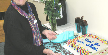 BONNIE WEIDEL was feted with cake and well wishes for her years on the school board. File photo