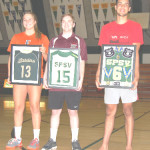 SPSV RETIRED the jerseys of three volleyball players who guided the Bruin boys and girls to Section championships in recent years: (from left) Paige Reed, Matthew Peretto and Gabriel Domecus.