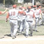 THE BENICIA OLDTIMERS celebrate after going 3-0 at last weekend's Dutch Van Wey Classic, earning a berth into this weekend's NorCal semifinals at Fitzgerald Field.