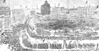 ILLUSTRATION of the first Labor Day parade around Union Square, New York, in 1882. theboweryboys.blogspot.com