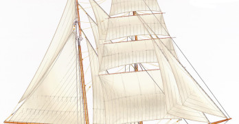 AN ARTIST'S  RENDERING of the tall ship Matthew Turner, now  under construction in Sausalito. educationaltallship.org