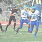 JOVON MCCLANAHAN (10) and his twin brother Jaden (with ball) have been a dynamic duo for the Benicia Youth Football Midget team this season.