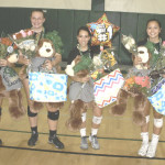 SPSV'S GIRLS varsity volleyball team honored its four seniors before Thursday night's match against St. Joe's. SPSV's four seniors are (from left) Kristina Manuel, Taylor Castro, Julia Kistner and Malia Bolko.