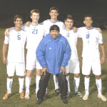 BENICIA HEAD COACH Javier Martinez (center) said goodbye to his five seniors Monday night. The five seniors are (from left) Evan Sousa, Hudson McNutt, Jimmy Butts, Elliot Bonnet and Spencer Vercelli.