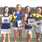 BENICIA HIGH'S girls tennis team honored its four seniors before Thursday's match with Bethel. Benicia's senior players are (from left) Belle Chang, Megan Klein, Adeline Morley and Michelle Li.