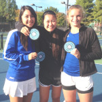 SAMANTHA BEYER (left) and Michelle Li (center) teamed up to win the SCAC doubles title while sophomore Lily Hayward (right) made it all the way to the singles finals.
