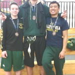 SPSV WRESTLERS Austin Hugo (left) and Triston Foley (center) each won individual championships at the Northgate Tournamenmt while teammate Marlon Cereca took third place.