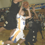 BENICIA'S DEAN CUFFEE gets swarmed by Jaguars.