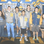 BENICIA HIGH'S wrestling program honored its seniors before Wednesday night's dual meet with visiting Fairfield. Pictured are (from left) Cecilia Yaniz, Joseph Hurst, Brandon Ajari, Christian Ramos, Jimmy Butts, Steven Rohrer and Ricki Liang.