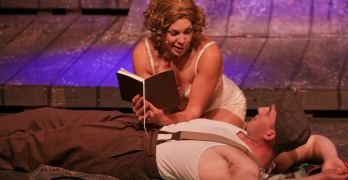 "BONNIE (Taylor Bartolucci) reads her poems to Clyde (James Bock) in ""Bonnie & Clyde,"" at the Lucky Penny Community Arts Center, Napa, through April 4. Eric Chazankin photos"
