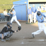 BENICIA'S DAVID KING tears into a pitch against Deer Valley. King had two of Benicia's six hits in an extra-innning defeat.