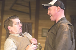 CHAD YARISH (as Owen, right) cuts an imposing figure opposite O'Donnell's Charlie as they square off at the inn.