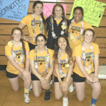 BENICIA HIGH'S badminton team honored its seniors before Thursday's final home match against Vallejo. The Lady Panther seniors are (back row from left) Sofia West, Maddy Schmeling, Anataya Phadungsang; (front row) Jeanette Burdick, Anise Ghandchi, Belle Chang and Simone Burdick.