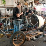 "DESIGNER Shannon O'Hare (below) creates a framework for the magical titular car in ""Chitty Chitty Bang Bang,"" now showing in Vallejo. Stephen Jacobson photos"