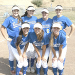 BENICIA'S SENIOR softball players celebrated their final home game with a 10-0 victory over American Canyon. The Lady Panthers seniors are (back row from left) Victoria Mackey, Brianna Schlattman, Lindsay Zimmer, Alana Combes; (front row) Olivia DeJesu, Mallory Barnard and Courtney Bowling.
