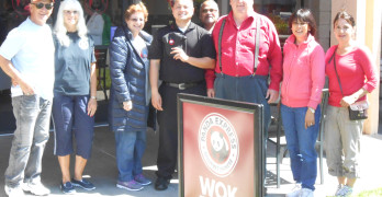 LEFT TO RIGHT, Tom Chowaniec, Pat McClelland, Margie Daly, Panda Express of Benicia Manager, Billy Trinidad, Joseph Lobo, David Henry, Amy Collins, . Esther Silva. Larry Burne photo