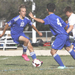 LANDON ELFSTROM (left) scored a goal in Benicia's 2-0 victory over Wood on Wednesday.