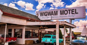 The Wigwam Motel in Holbrook Ariz. off the historic Route 66. This motel is one of the chain's three surviving locations, in which guests pull their cars up to rooms shaped like tipis. Photos from Robert Brusca's trip to the Southwest can be seen at the Marilyn Citron O'Rourke Gallery at the Benicia Public Library.  (Photo by Robert Brusca)