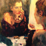 """""""Mirror Mirror,"""" a painting of a young woman looking at her reflection, was created by Nikki Basch-Davis and can be viewed along with her other works at Benicia Public Library for the show """"Moments."""" (Painting by Nikki Basch-Davis)"""