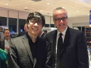 Soloist Zlatomir Fung, left, and VSO Director Marc Taddei attended a post-concert reception at Avery-Green Honda in Vallejo Sunday evening. (Photo by Susie Peterson)